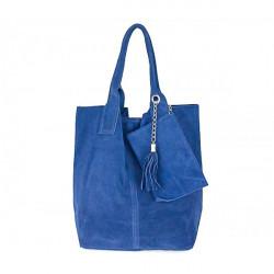 Jeans kožená kabelka v úprave semiš 804, Modrá