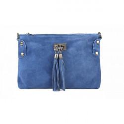 Kabelka z brúsenej kože 812 jeans, Modrá