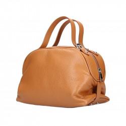 Koňaková kožená kabelka 5301 MADE IN ITALY, Farba koňak MADE IN ITALY 5301
