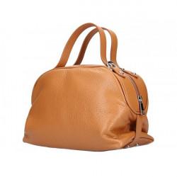 Koňaková kožená kabelka 592 Made in Italy Koňak