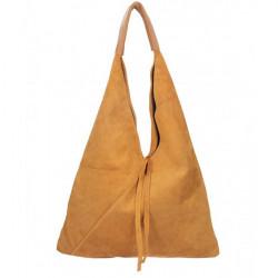 Koňaková kožená kabelka na rameno v úprave semiš 184, Koňak