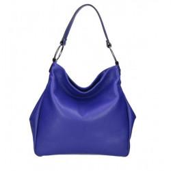 Kožená kabelka 1081 azurovo modrá Made in Italy Modrá
