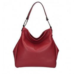 Kožená kabelka 1081 červená Made in Italy Červená