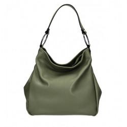 Kožená kabelka 1081 vojensky zelená Made in Italy Zelená
