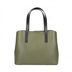 Kožená kabelka 1168 vojenská zelená, Zelená