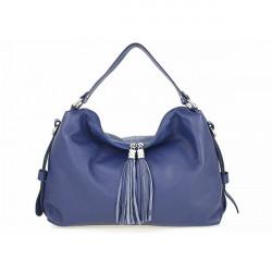 Kožená kabelka 120 modrá, Modrá