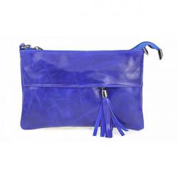 Kožená kabelka 1423A azurovo modrá, Modrá