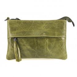Kožená kabelka 1423A vojenska zelená, Zelená