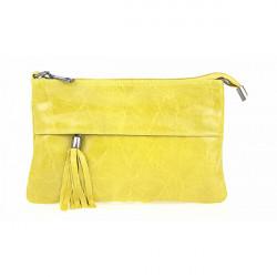 Kožená kabelka 1423A žltá, Žltá