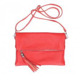 Kožená kabelka 16003 červená Made in Italy, Červená