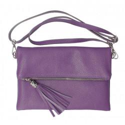 Kožená kabelka 16003 fialová Made in Italy, Fialová