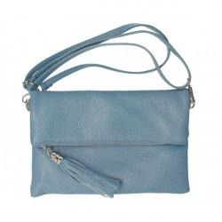 Kožená kabelka 16003 nebesky modrá Made in Italy, Nebesky modrá