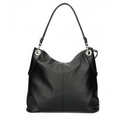 Kožená kabelka 168 čierna Made in Italy Čierna