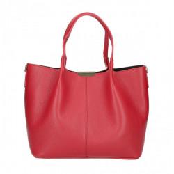 Kožená kabelka 372 červená Made in Italy Červená