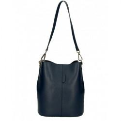 Kožená kabelka 401 Made in Italy tmavomodrá Modrá
