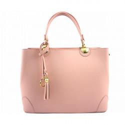 Kožená kabelka 7 ružová, Ružová