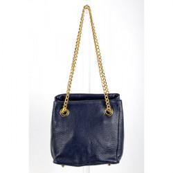 Kožená kabelka 801 Made in Italy, Modrá
