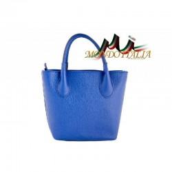 Kožená kabelka 93 azurovo modrá MADE IN ITALY 93