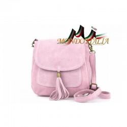 Kožená kabelka cez rameno 1147 ružová MADE IN ITALY 02233411901