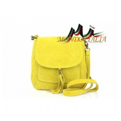 Kožená kabelka cez rameno 1147 žltá MADE IN ITALY 1147