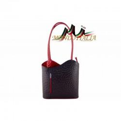 KOŽENÁ KABELKA čierna+červená 1260 MADE IN ITALY 1260