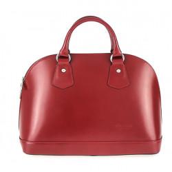 Kožená kabelka do ruky 1203 červená, Červená