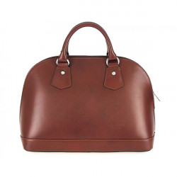 Kožená kabelka do ruky 1203 hnedá, Hnedá