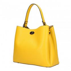 Kožená kabelka do ruky 232 žltá MADE IN ITALY Žltá