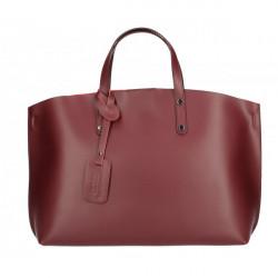 Kožená kabelka do ruky 5304 tmavočervená MADE IN ITALY, Červená