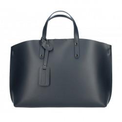 Kožená kabelka do ruky 5304 tmavomodrá MADE IN ITALY, Modrá