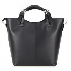 Kožená kabelka do ruky 69 čierna, Čierna