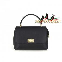 Kožená kabelka do ruky aj na rameno čierna 474 MADE IN ITALY