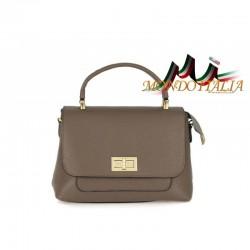 Kožená kabelka do ruky aj na rameno šedohnedá 474 MADE IN ITALY