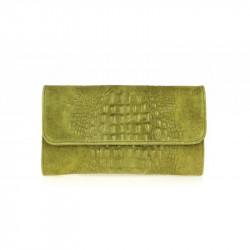 Kožená kabelka kroko štýl 1251 olivovo zelená MADE
