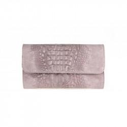 Kožená kabelka kroko štýl 1251 ružová MADE IN ITALY, ružová