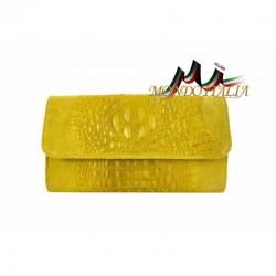 Kožená kabelka kroko štýl 1251 žltá MADE IN ITALY 1251