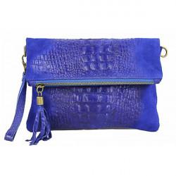 Kožená kabelka krokodíl 630 azurovo modrá, Modrá