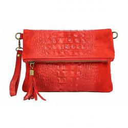 Kožená kabelka krokodíl 630 červená, Červená