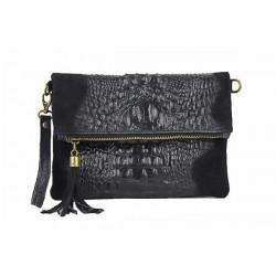 Kožená kabelka krokodíl 630 čierna, Čierna