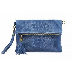 Kožená kabelka krokodíl 630 jeans, Modrá