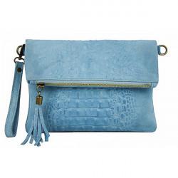 Kožená kabelka krokodíl 630 nebesky modrá, Nebesky modrá
