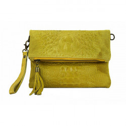 Kožená kabelka krokodíl 630 žltá, Žltá