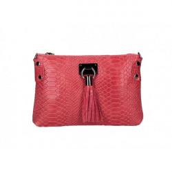 Kožená kabelka MI42 červená Made in Italy Červená