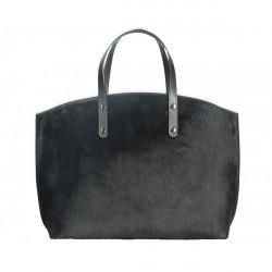 Kožená kabelka MI423 čierna Made in Italy, Čierna