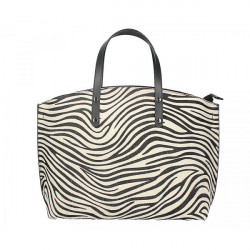 Kožená kabelka MI423 zebra Made in Italy, Biela