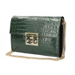 Kožená kabelka MI758 tmavozelená Made in Italy, Zelená