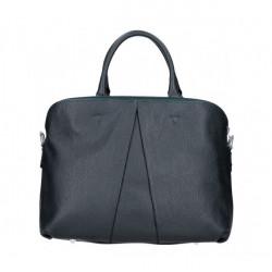 Kožená kabelka MI87 tmavomodrá Made in Italy Modrá