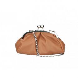 Kožená kabelka MI89 koňaková Made in Italy Koňak
