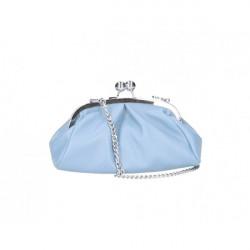 Kožená kabelka MI89 nebesky modrá Made in Italy Nebesky modrá