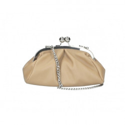 Kožená kabelka MI89 šedohnedá Made in Italy Šedohnedá